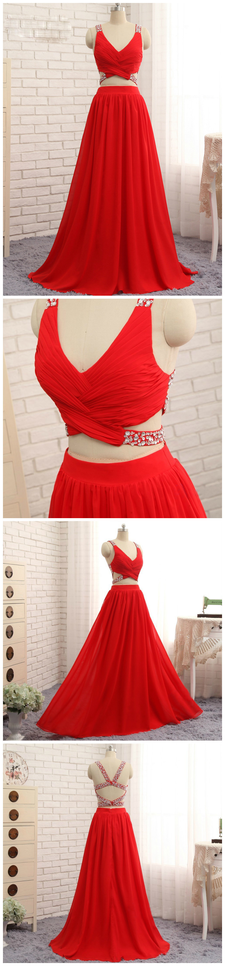 Chic pieces aline vneck red beading chicffon long prom dress