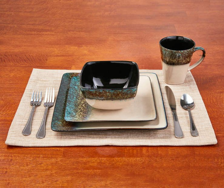 Master Cuisine Green Teal Square Dip Dye 16 Piece Dinnerware Set Dinnerware Set Dinnerware Dinnerware Sets