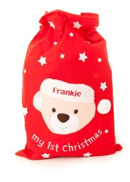 Personalised Handcrafted Baby s First Christmas Gift Bag Santa Present Sack 46948965c