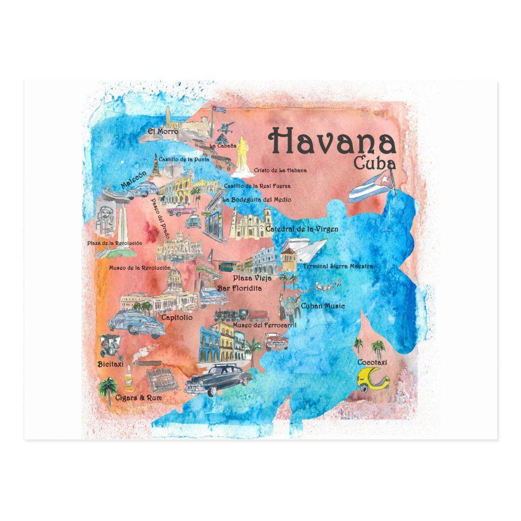 Havana Cuba Illustrated Travel Poster Map Postcard Zazzle Com Map Poster Map Art Print Havana Map