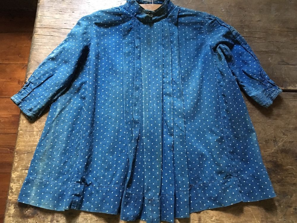 Sweet Early Old Antique Blue Calico Childs Dress Handmade Textile AAFA #NaivePrimitive