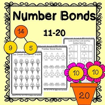 Number Bonds to 20 (Twenty ) Worksheets / Printables / No Prep