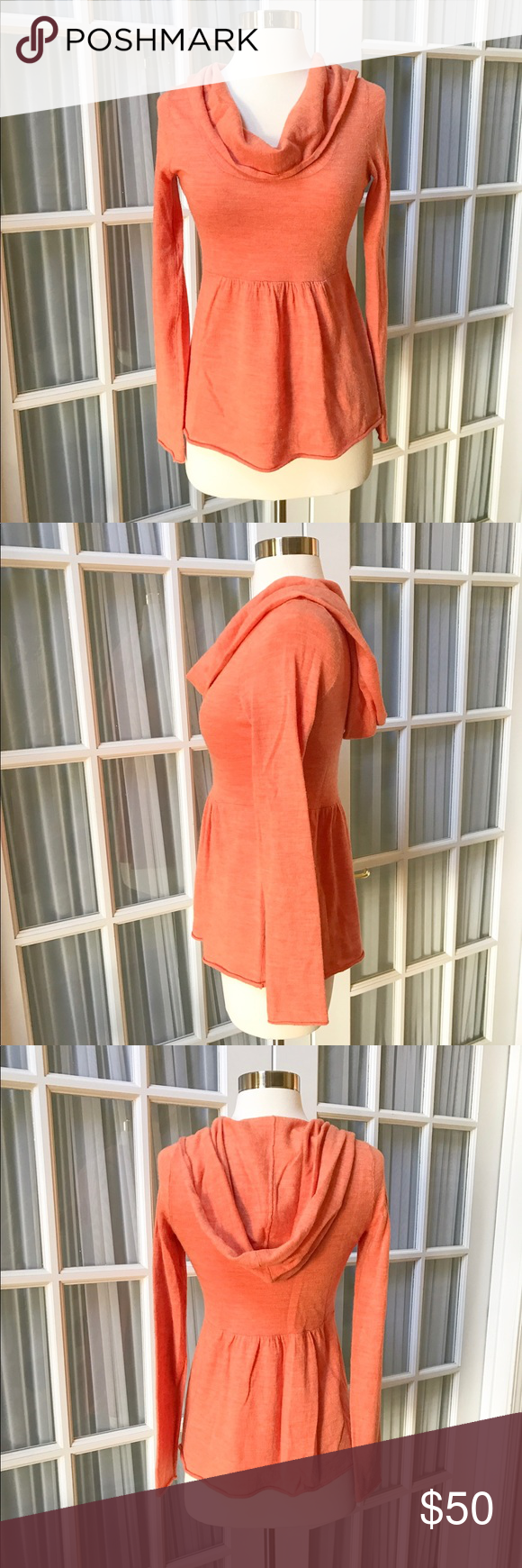 Anthropologie Hooded Orange Sweater Cute and cozy sweater by Moth ...