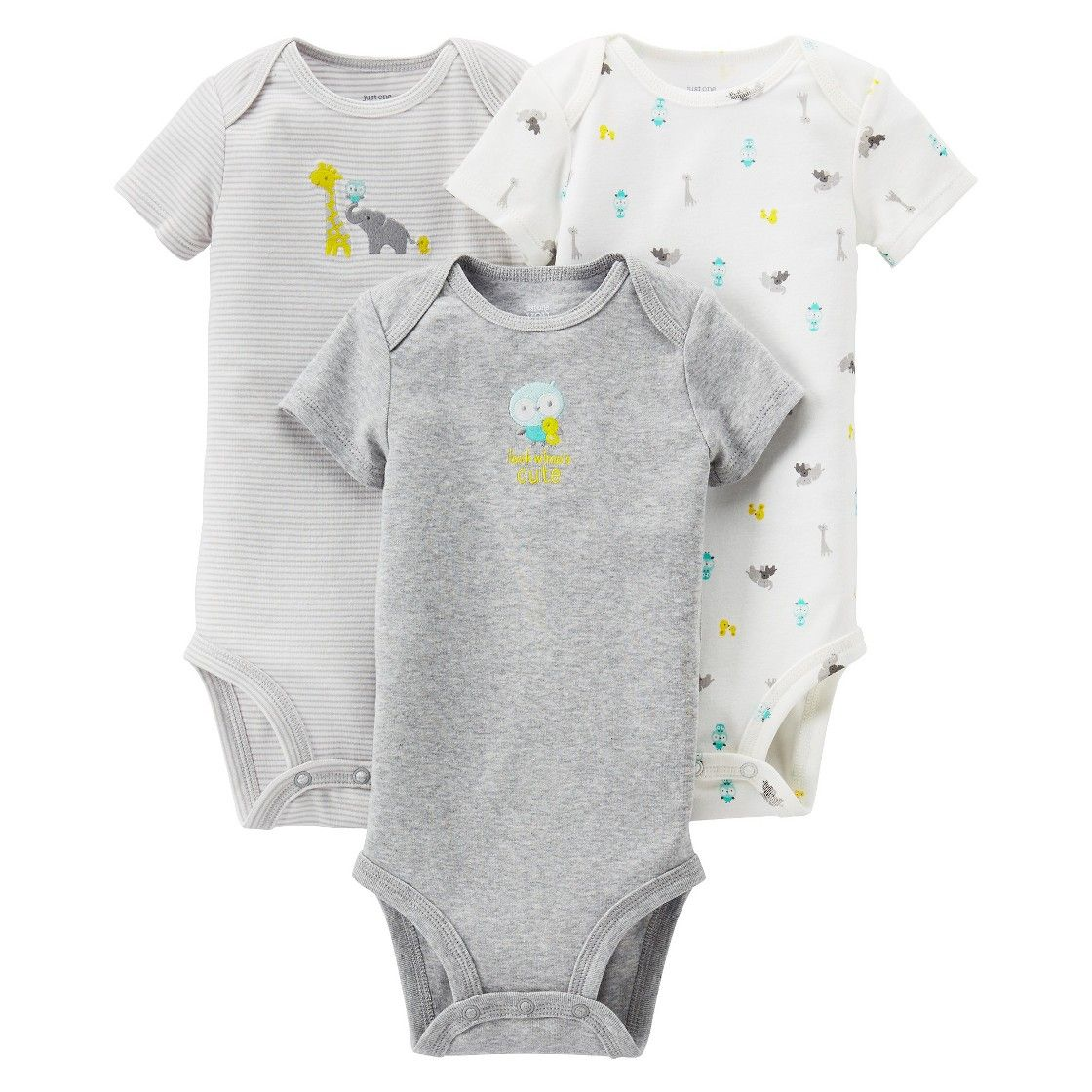 f8d175348 Just One You Made by Carter's  Newborn 3 Pack Short-sleeve Elephant Family  Bodysuit Set - Grey