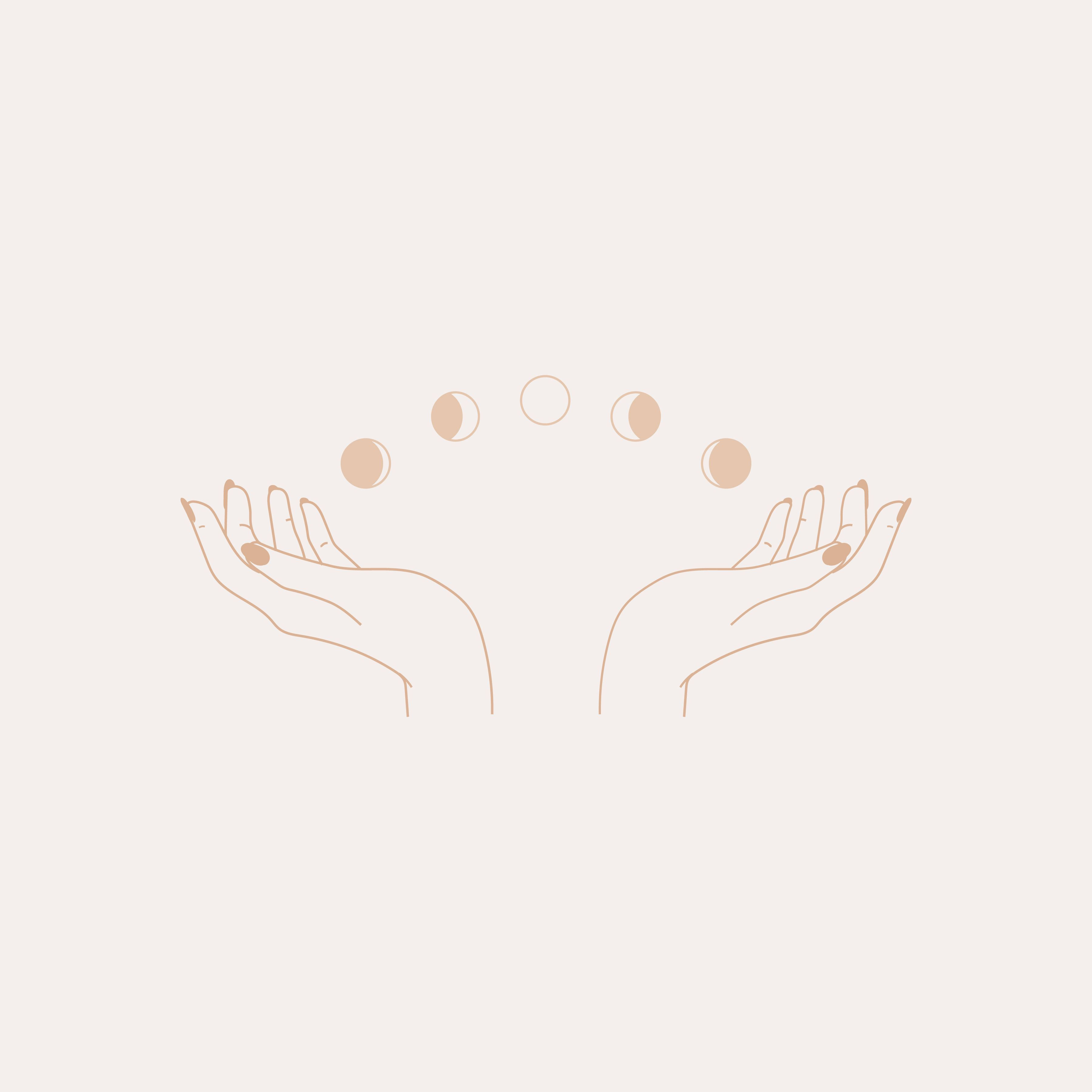 Moon Phase Hands Illustration Logo, Tumblr Art, Small