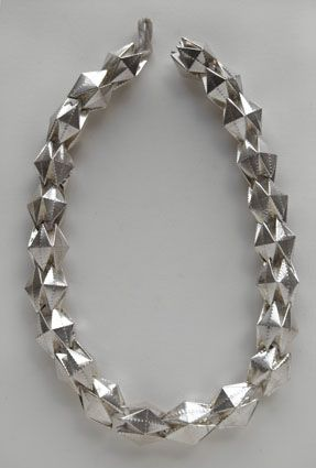 Susanna Loew - necklace Large Pentagon, 2006 silver, silk cord ...