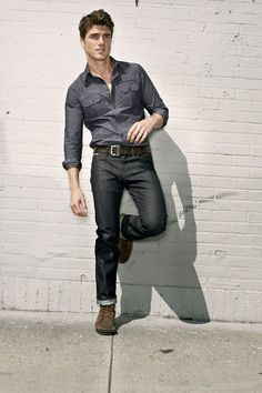 Hipster-style with dark raw denim cuffed | Carlos T | Pinterest ...