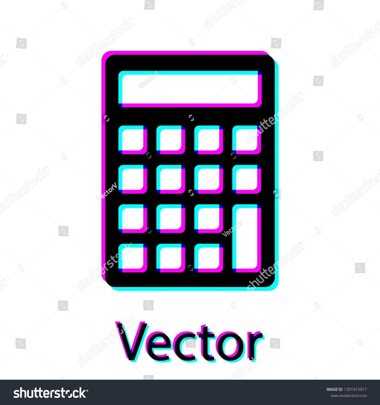 Black Calculator Icon Isolated On White Background Accounting