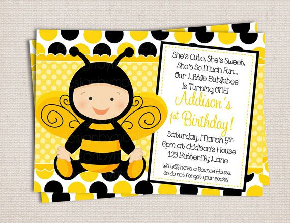 Adorable little baby bumble bee birthday party printable invitation adorable little baby bumble bee birthday party printable invitation digital file filmwisefo Images