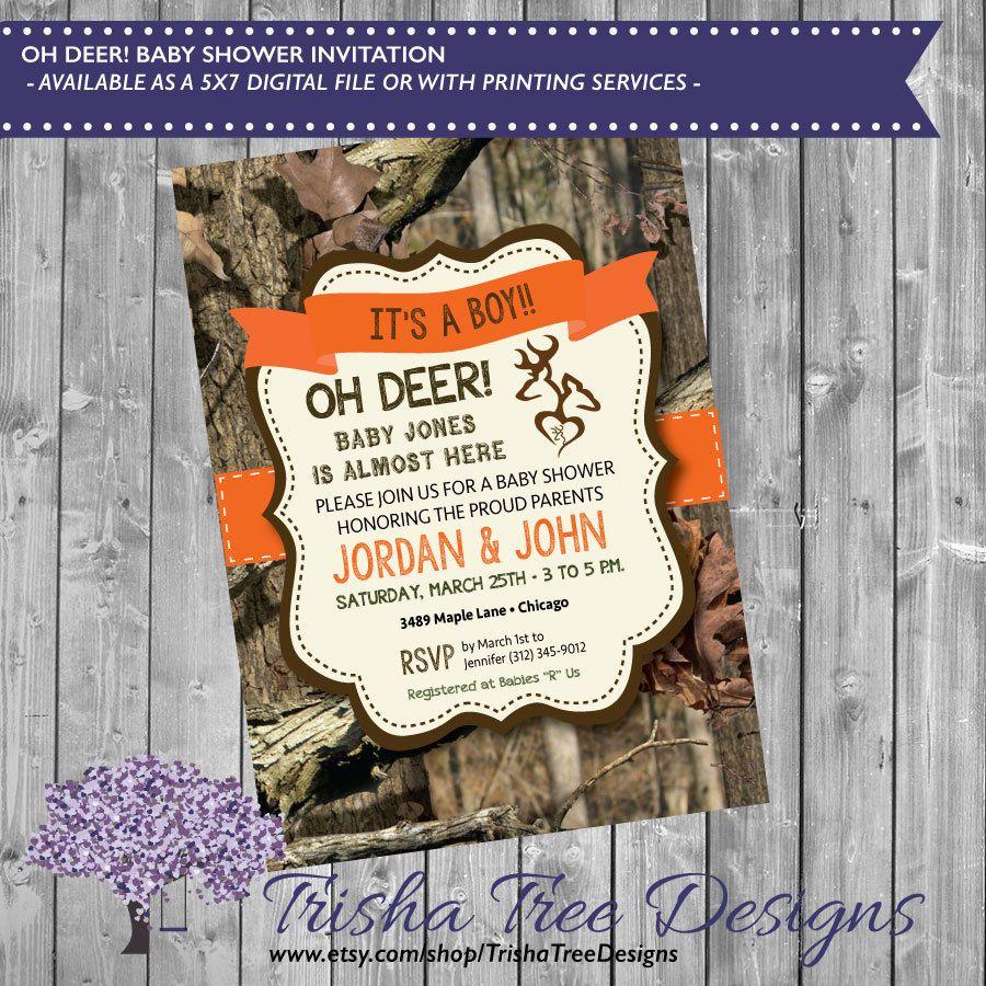 oh deer baby shower invitation - little buck baby shower - camo baby