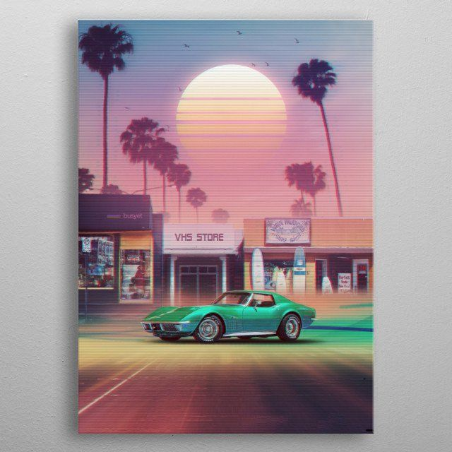 'Synthwave Sunset Drive' Metal Poster - Denny Busyet | Displate