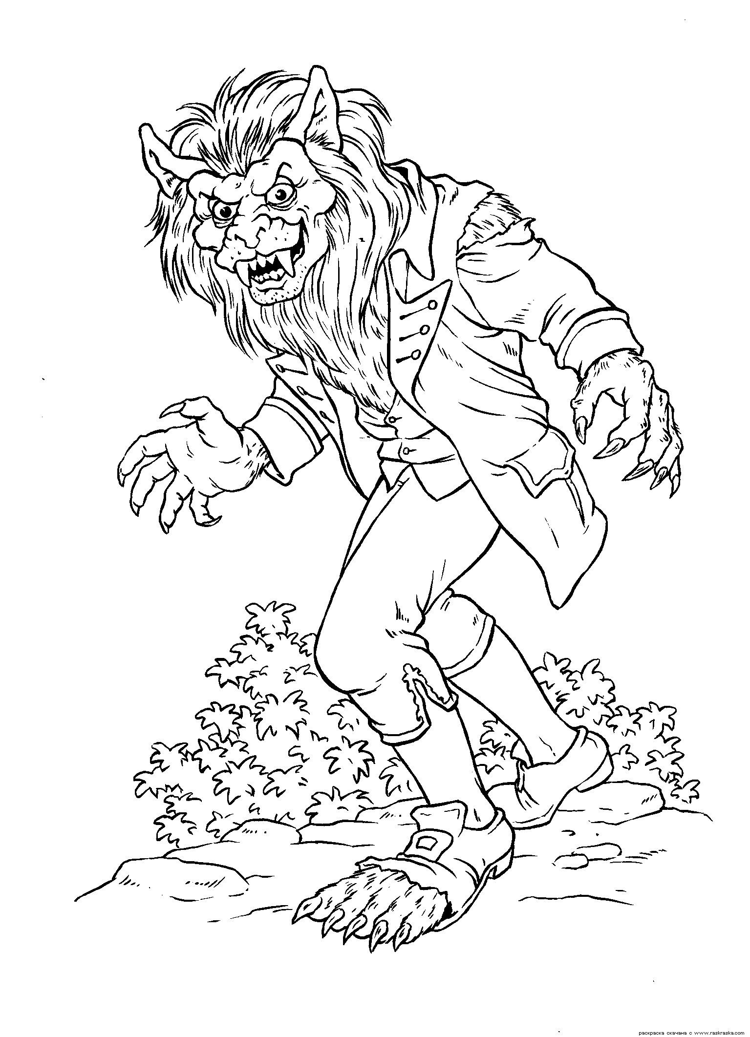 werewolf coloring pages google search - Halloween Werewolf Coloring Pages