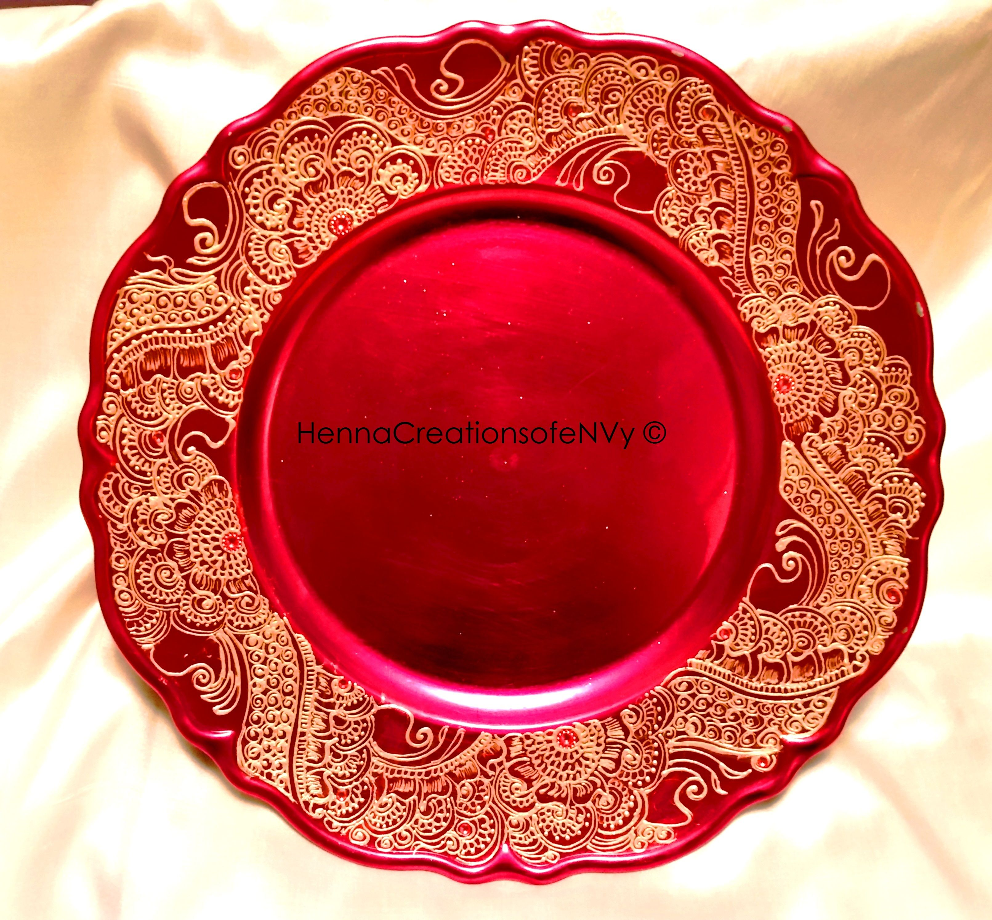 Wedding decor maroon and gold  Henna Art Diwali or Candle Plate with gem stones mehndi