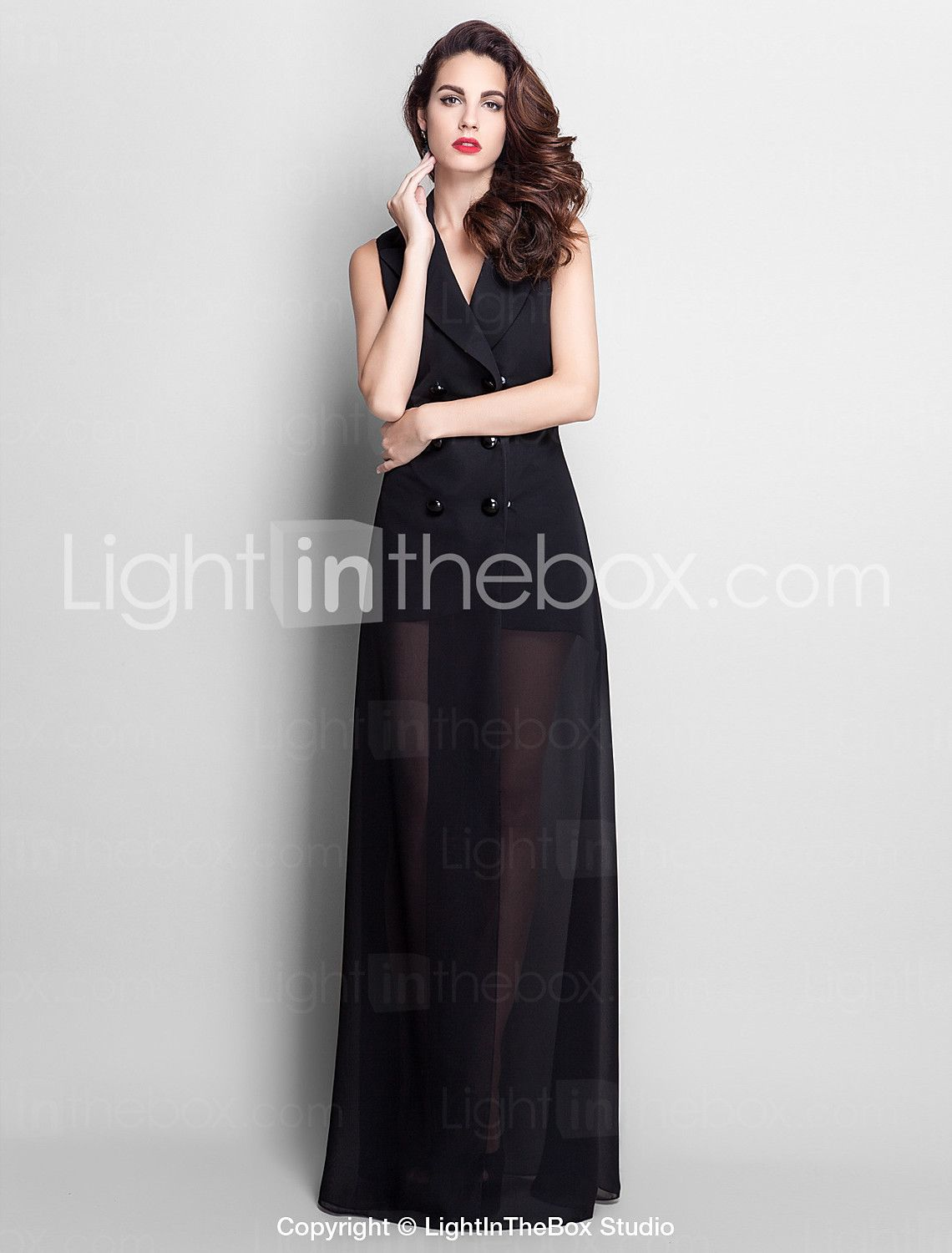 Sheath / Column V-neck Floor Length Chiffon Prom Formal Evening ...