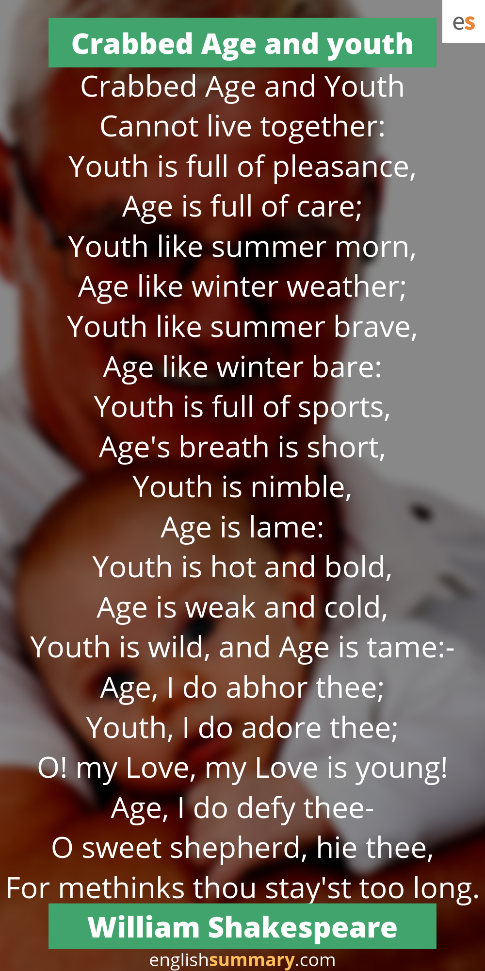 Crabbed Age And Youth Poem By William Shakespeare Poems By William Shakespeare Morning Poem Weather Poetry