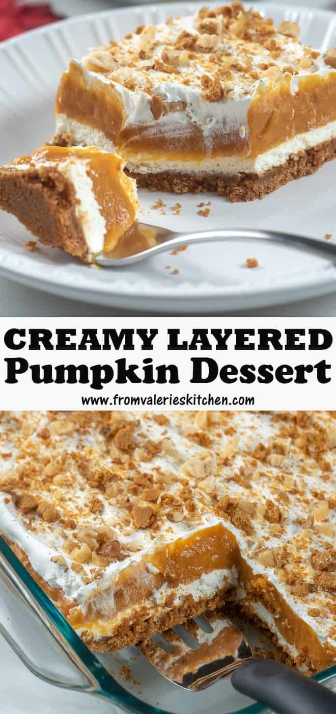 A dreamy cream cheese layer and a vanilla and spice infused pumpkin layer top a sweet ginger snap crust. This Creamy Layered Pumpkin Dessert is a wonderful make-ahead holiday dessert choice. #pumpkindesserts #thanksgivingrecipes #thanksgivingdesserts #makeaheaddesserts #holidaydesserts #holidaydesserts