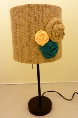 Mod Podge Burlap Onto Lamp Shade Secure Tops Bottoms With Glue Gun Hot Flowers Ta Da