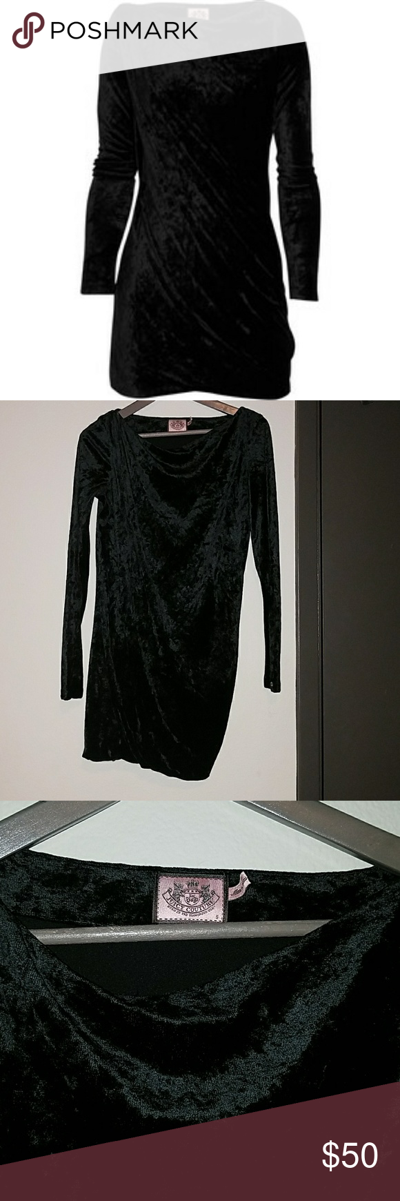 Juicy couture black draped velvet dress juicy couture body con