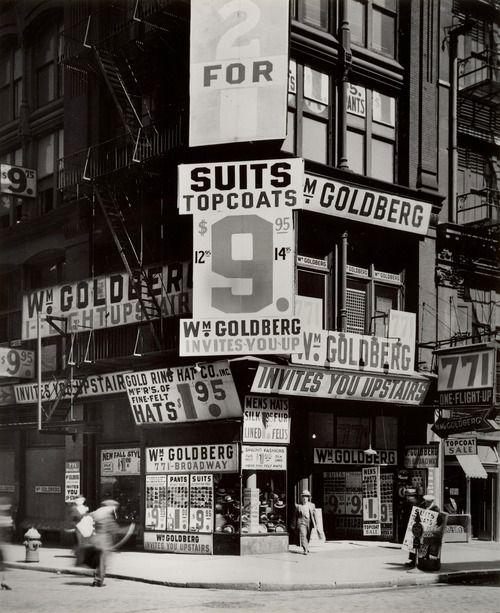 Berenice Abbott - Wm. Goldberg's clothing store. 771 Broadway, New York City, circa 1930's. S)