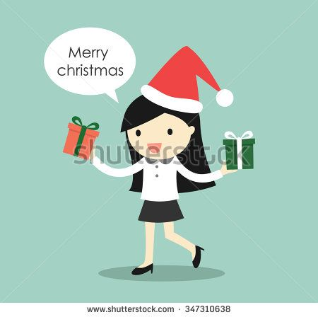 Business concept, Business woman holding two gift boxes for Christmas festival. Vector illustration.