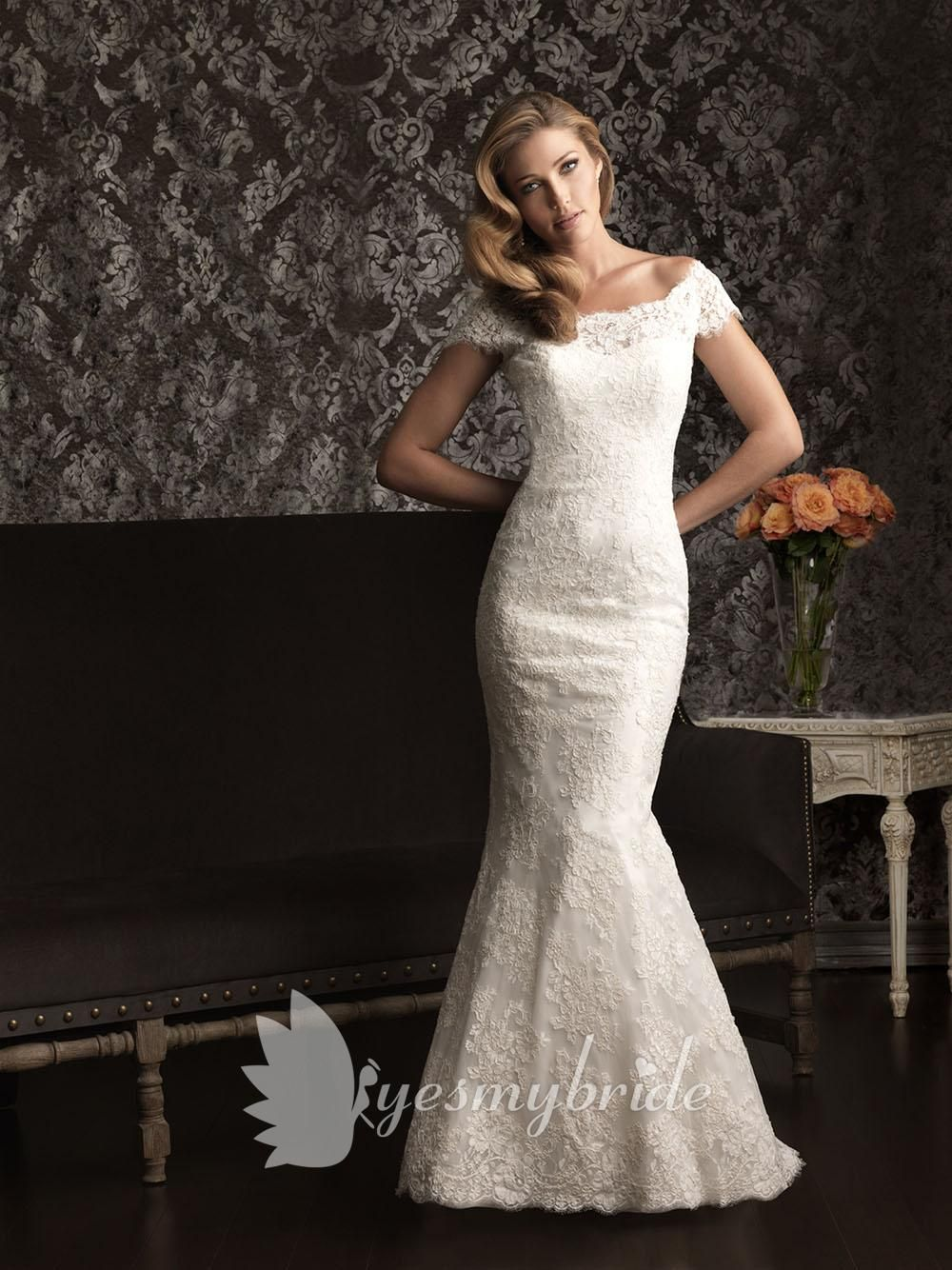 Timeless lace off the shoulder cap sleeve slim wedding dress