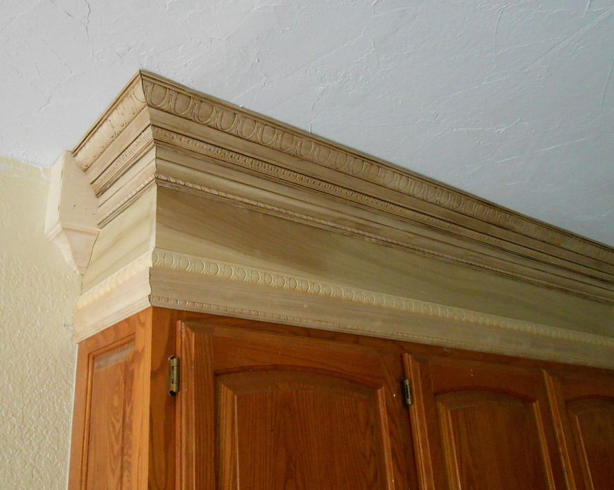 Add crown molding to fill in those blank spaces above the What to do with space above cabinets