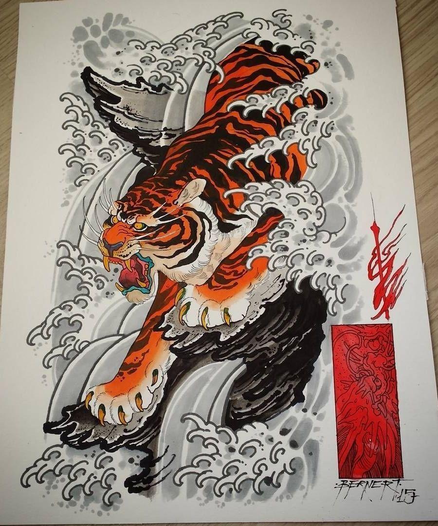tiger tattoo design tiger tattoo pinterest tattoo vorlagen japanischer drache und. Black Bedroom Furniture Sets. Home Design Ideas