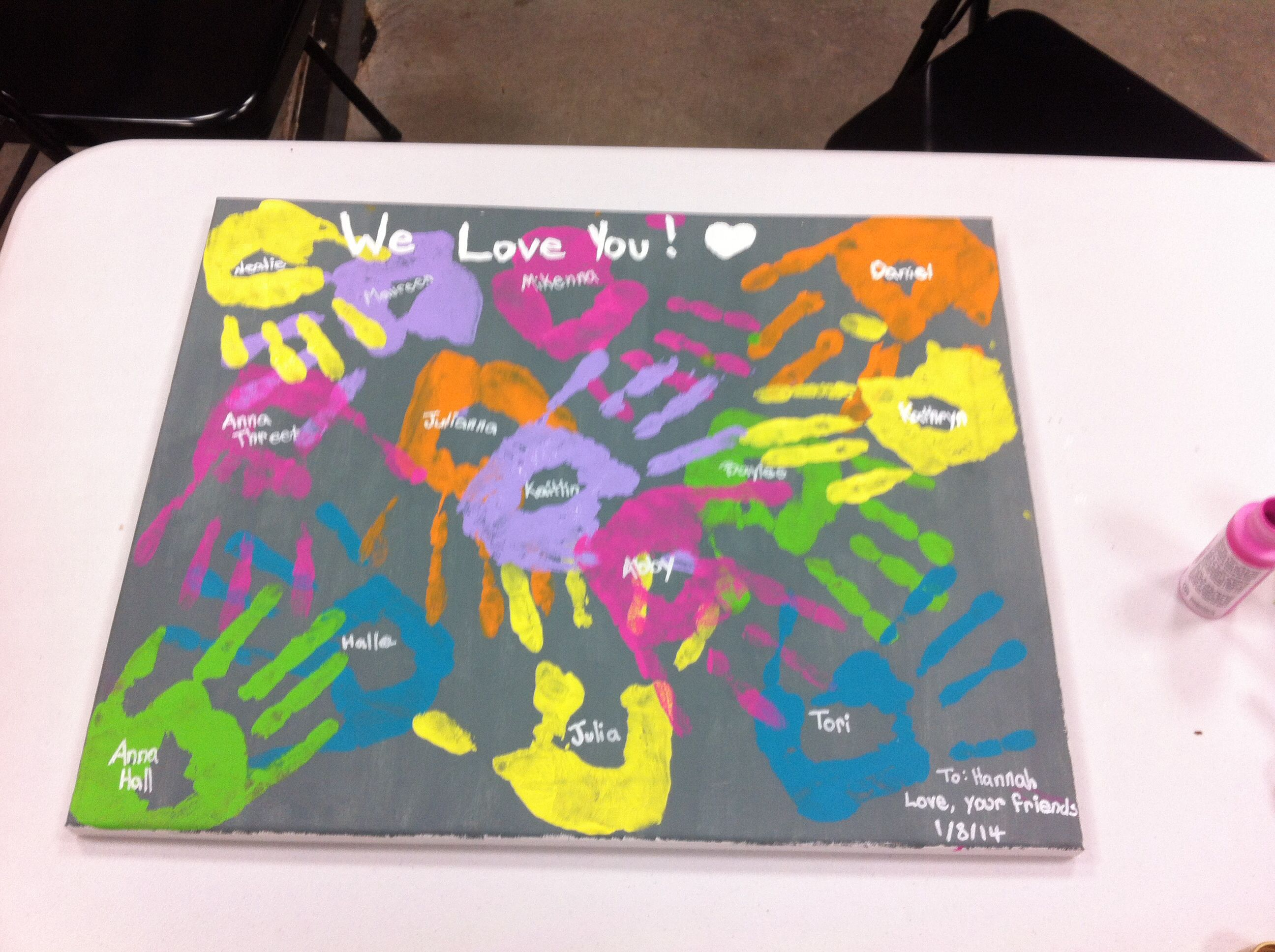 Farewell ideas for coworkers - Goodbye Gift For A Girl Have All Her Friends Put Their Handprints And Name On