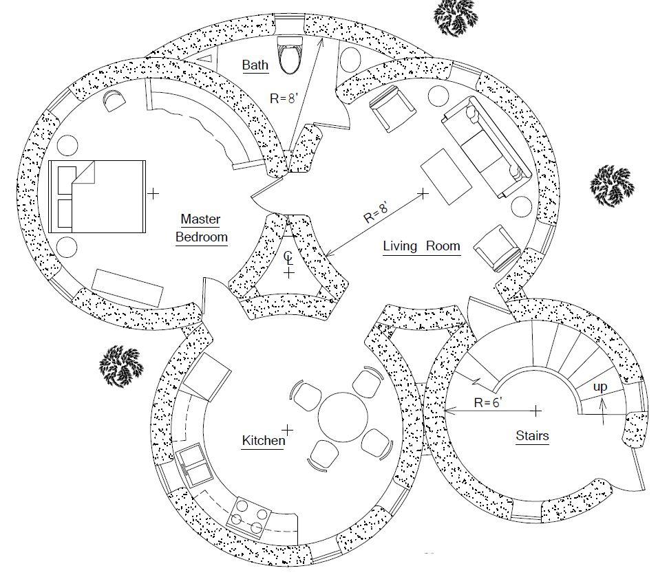 Maisons · hobbit house designs house plans small affordable sustainable earthbag plans de la