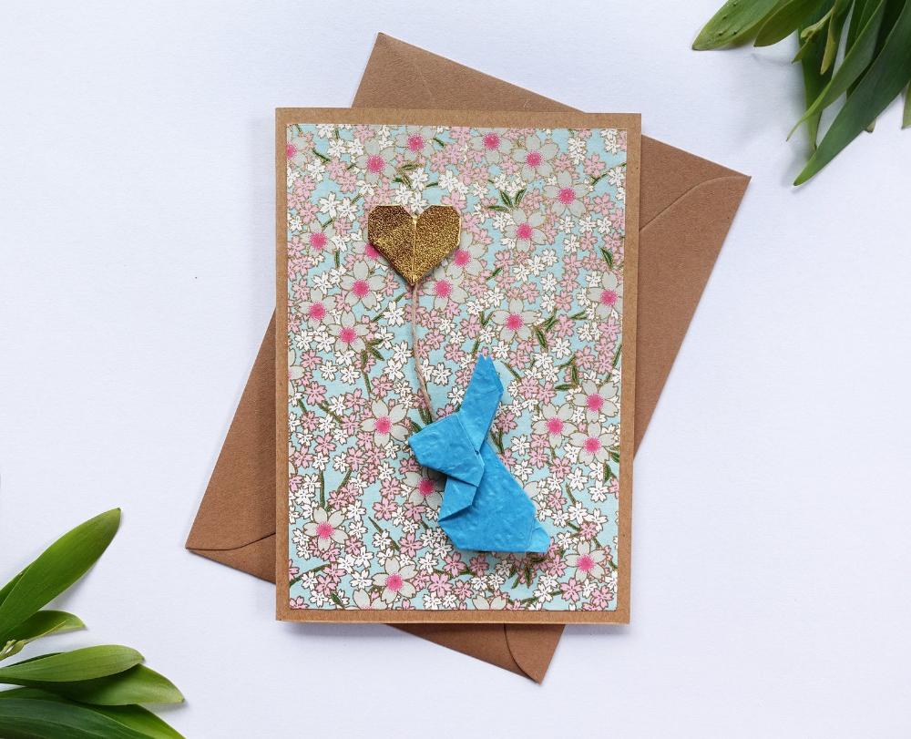 blue bunny origami birthday card gift card  golden heart