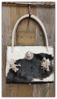 Cowhide Purse in Black and white