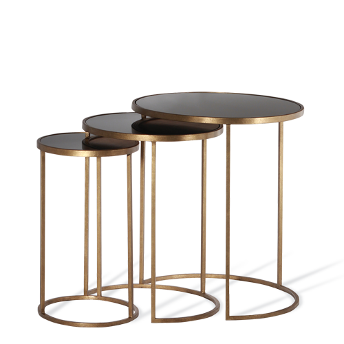 FineBuy Coffee Table Black//Gold with glass top 42 x 46 x 42 cm Metal Storage table Side table Sofa table Round Big Lounge table Living room table Modern