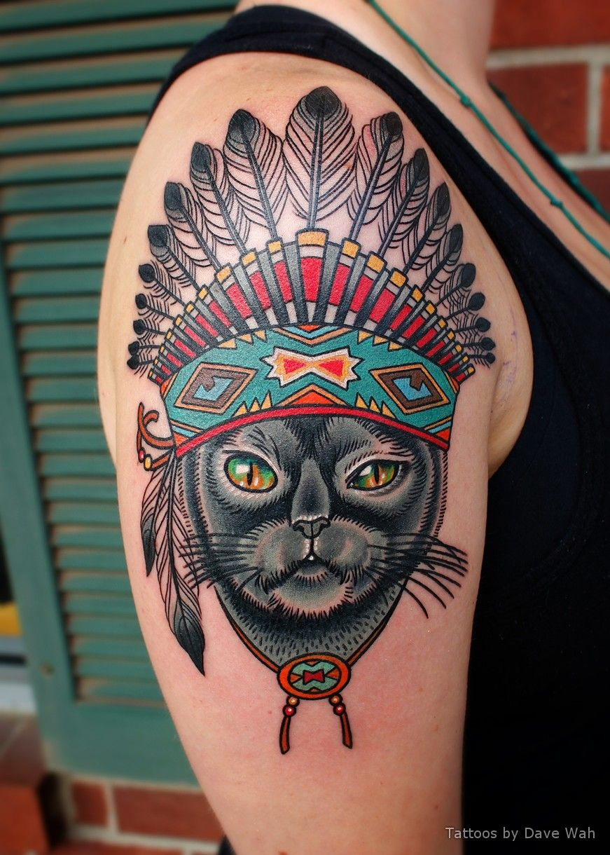 Lindsays cat with indian headdress tattoo indian