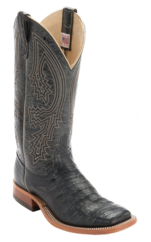 Anderson Bean® Men's Black Caiman Crocodile Belly Double Welt Exotic Square  Toe Cowboy Boots