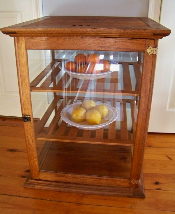 RESERVED - Antique Oak and Glass Display Case - Bakery - General Store - Display  Cabinet - Pie Safe - RESERVED - Antique Oak And Glass Display Case - Bakery - General