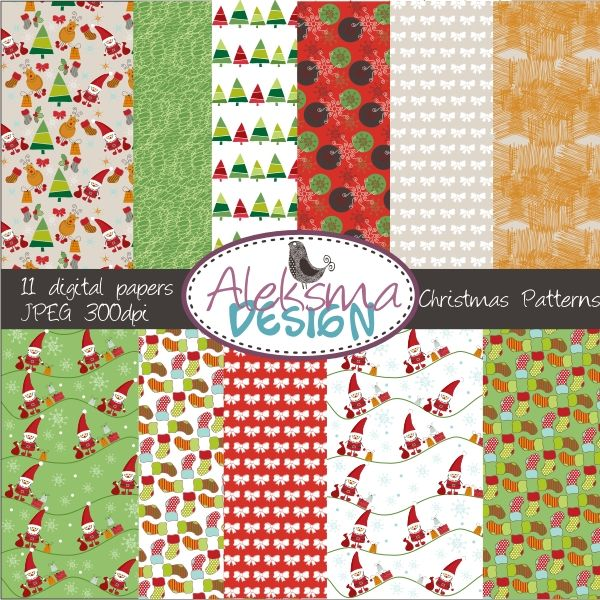 Christmas is here! Christmas pattern set perfect for your craft projects.
