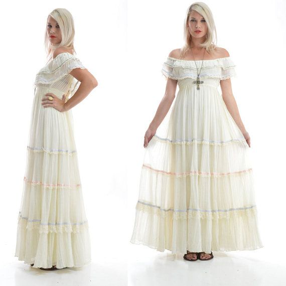 cf2594144bc VTG 70s Gunne Sax Wedding Hippie Off Shoulders Boho Festival Wedding Maxi  Dress