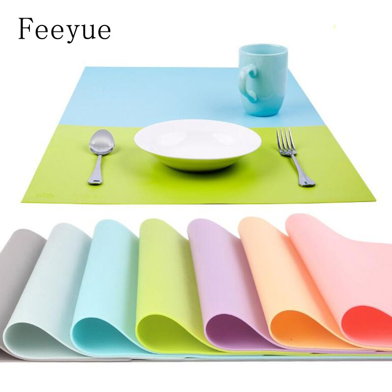 Feeyue 45x32cm Big Size Plain Color Platinum Silicone Placemat Thicker Moistureproof Baking Mat Dining Table Mat 2 Pack Af Table Pads Placemats Dining Table