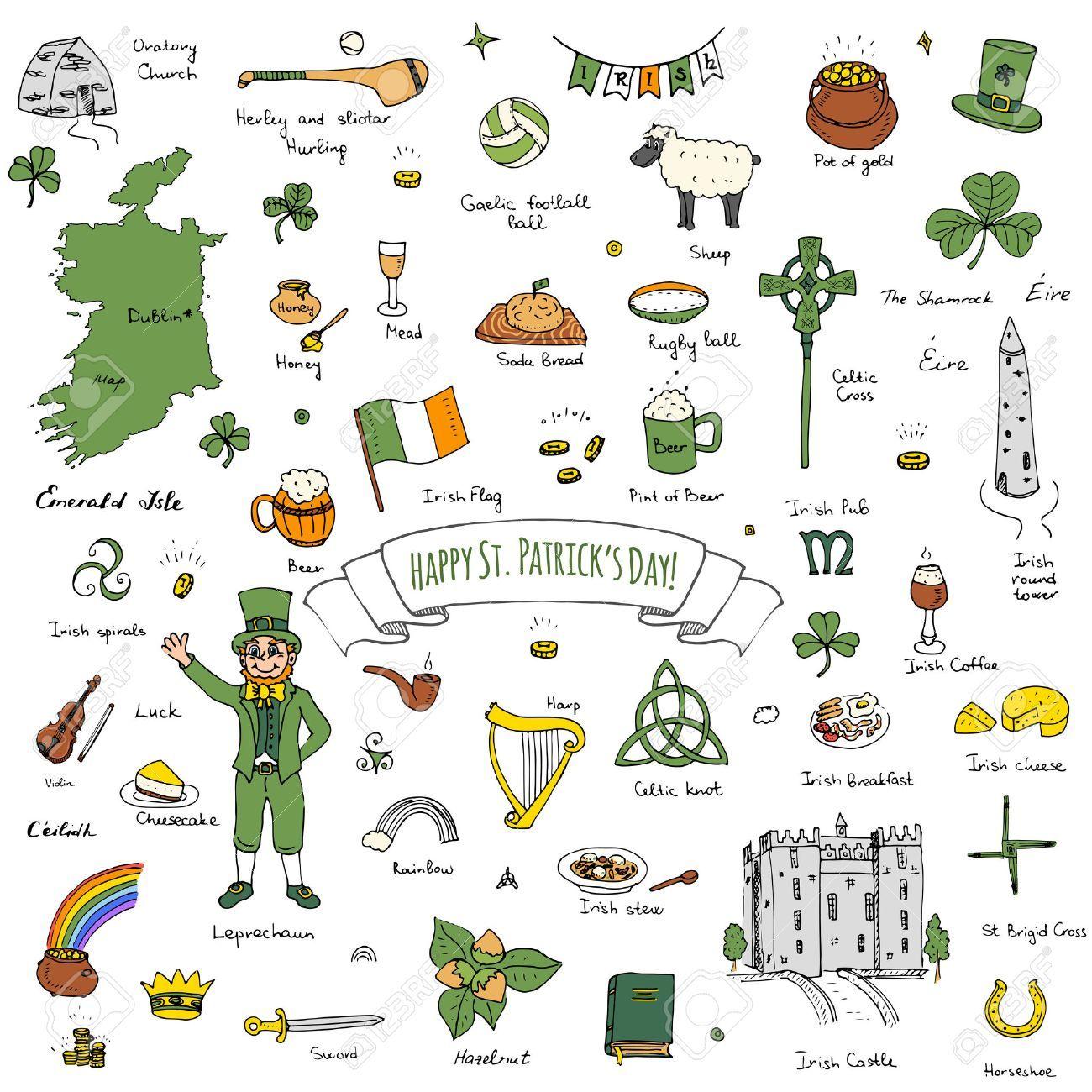 Happy St Patrick S Day Doodle Ireland Set Illustration Sketchy Royalty Free Cliparts Vectors An Happy St Patricks Day St Patrick S Day Traditions Doodles
