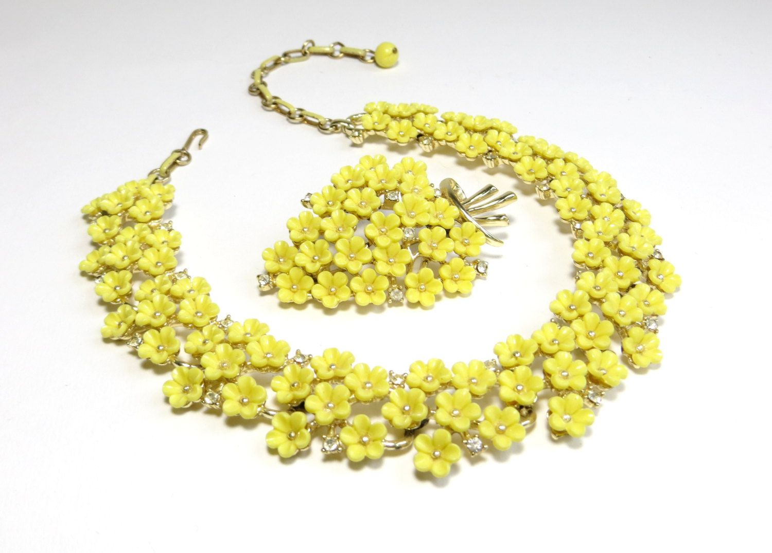 Vintage Coro Yellow Flower Necklace and Brooch with Rhinestones, Floral Flower Choker, Gold Tone Metal. $65.00, via Etsy.