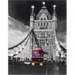 Cuadro Tower Bridge Con Luz Led En Tela De Lino 60 X 80 Cuadros Baratos Decoraciones De Casa Luz Led