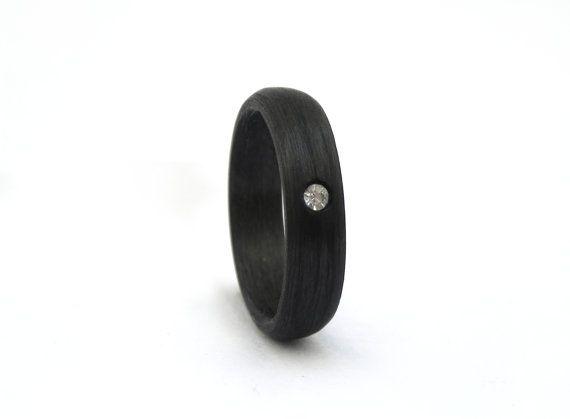 carbon fiber jeweled engagement ring by rosler on etsy 14300 - Carbon Fiber Wedding Rings