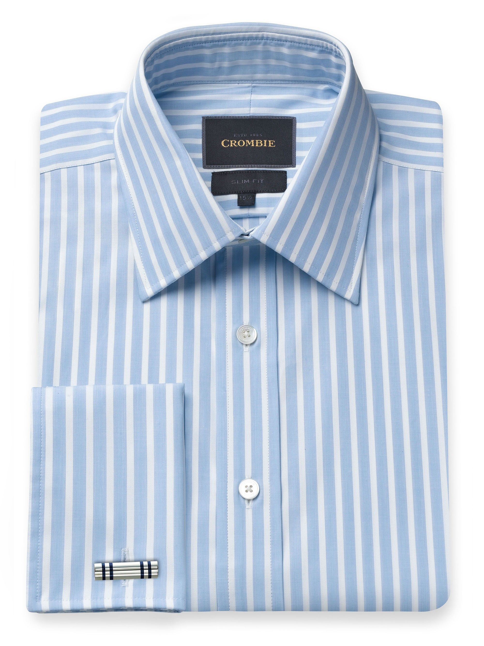 Pale Blue And White Stripe Shirt, Slim Fit - http://www.crombie.co.uk/mens/shirts-formal.html