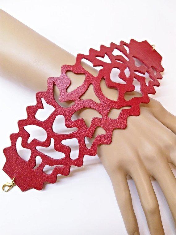 e35a13e92b03a Red lace cuff, size plus length options, geometric leather bracelet ...