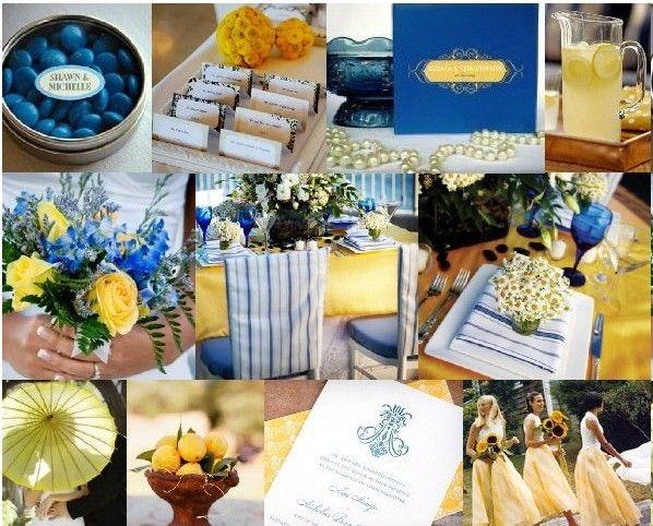 decoration mariage jaune et bleu