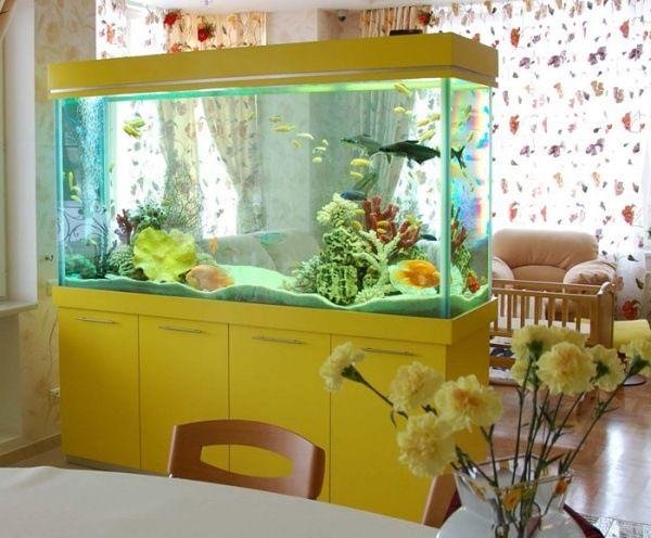 Moderne Aquarium Idées Salon Jaune