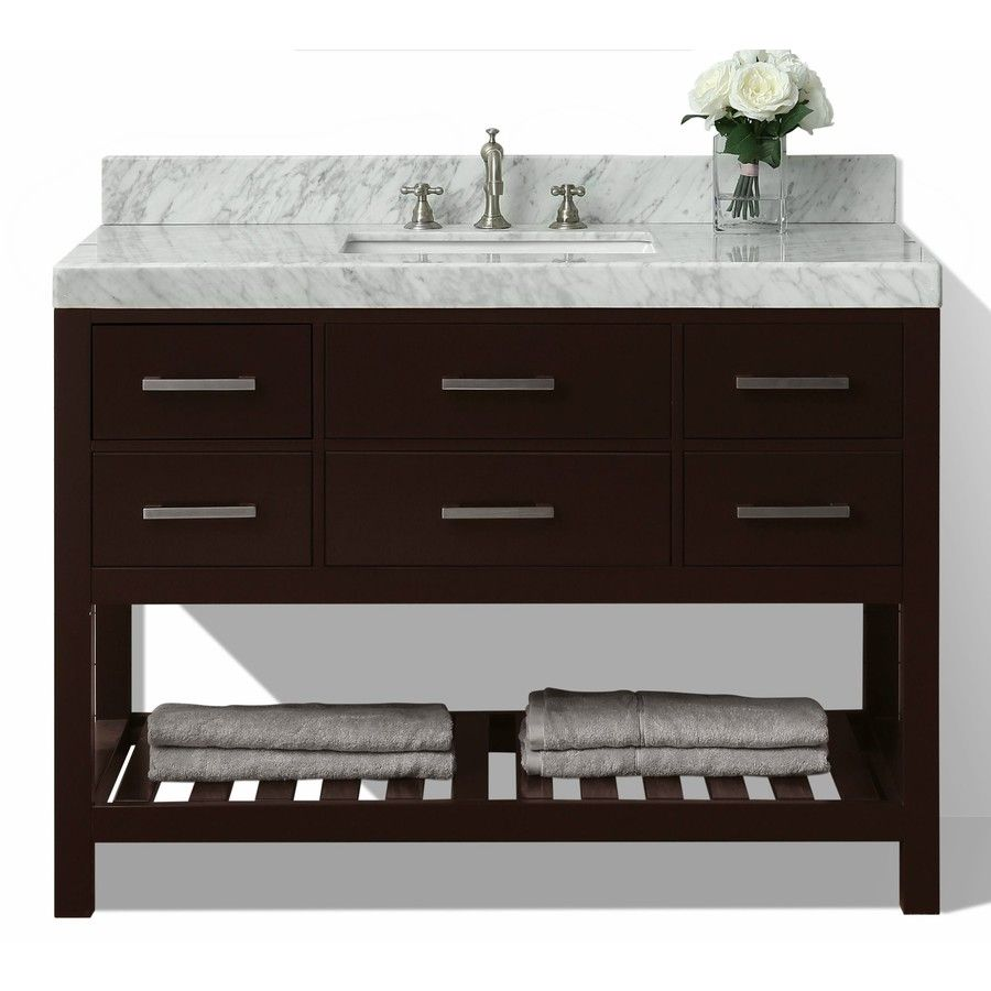Ancerre Designs Elizabeth Espresso Common 48 In X 22 Undermount Single Sink Birch Bathroom Vanity With Natural Marble Top Actual