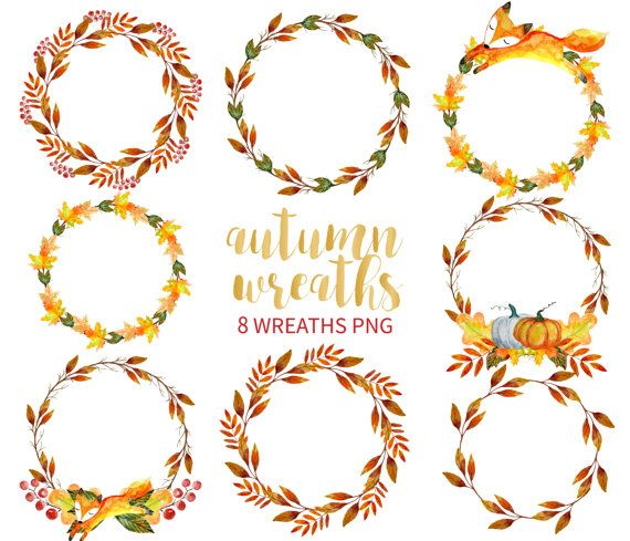 Autumn Wreath Clipart Watercolor Wreath Clipart Hand Drawn Etsy In 2021 Wreath Watercolor Wreath Drawing Wreath Illustration