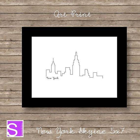 Art Print New York Skyline 5x7 Printable