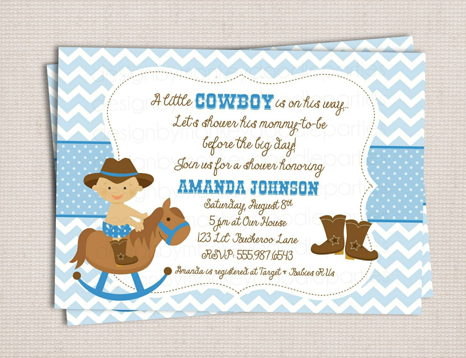 Little Buckaroo Cowboy Baby Shower Custom Printable Shower